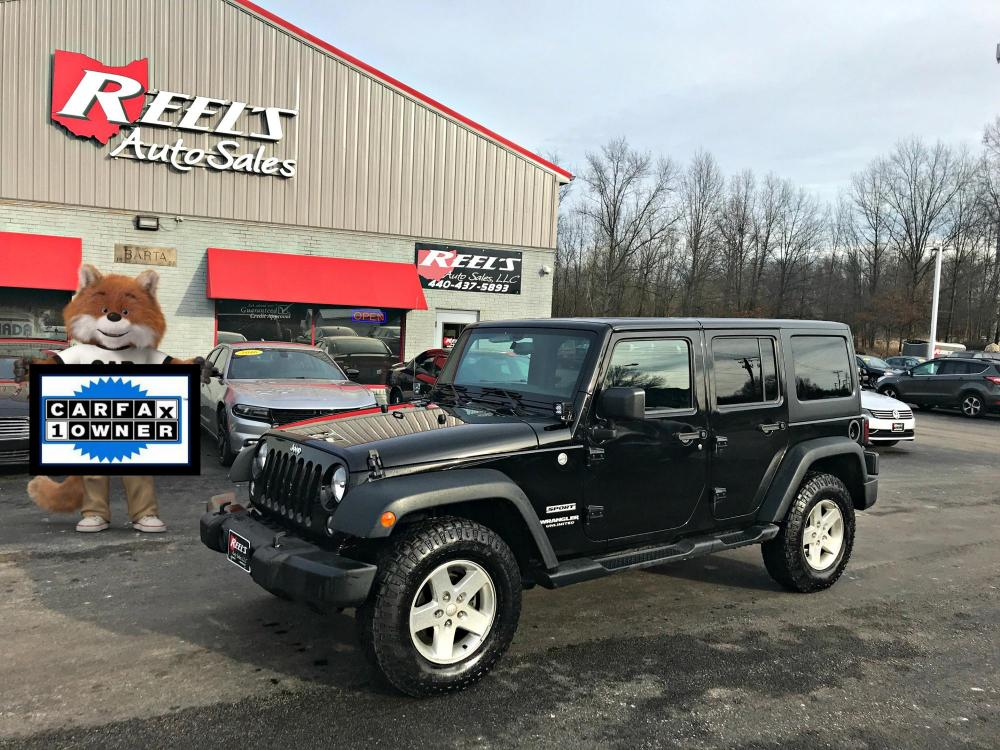 2015 Black /Black Jeep Wrangler Unlimited Sport 4WD (1C4BJWDG3FL) with an 3.6L V6 DOHC 24V FFV engine, Automatic transmission, located at 547 E. Main St., Orwell, OH, 44076, (440) 437-5893, 41.535435, -80.847855 - Photo #0